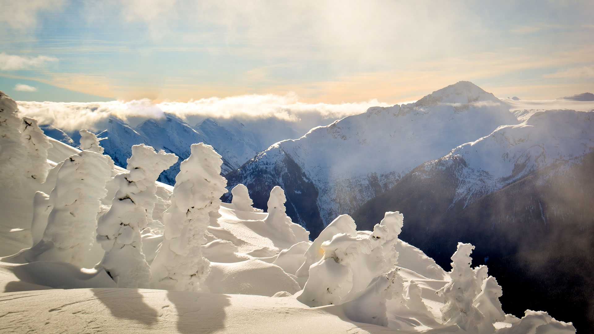 photo from the top of whistler mountain covered in snow