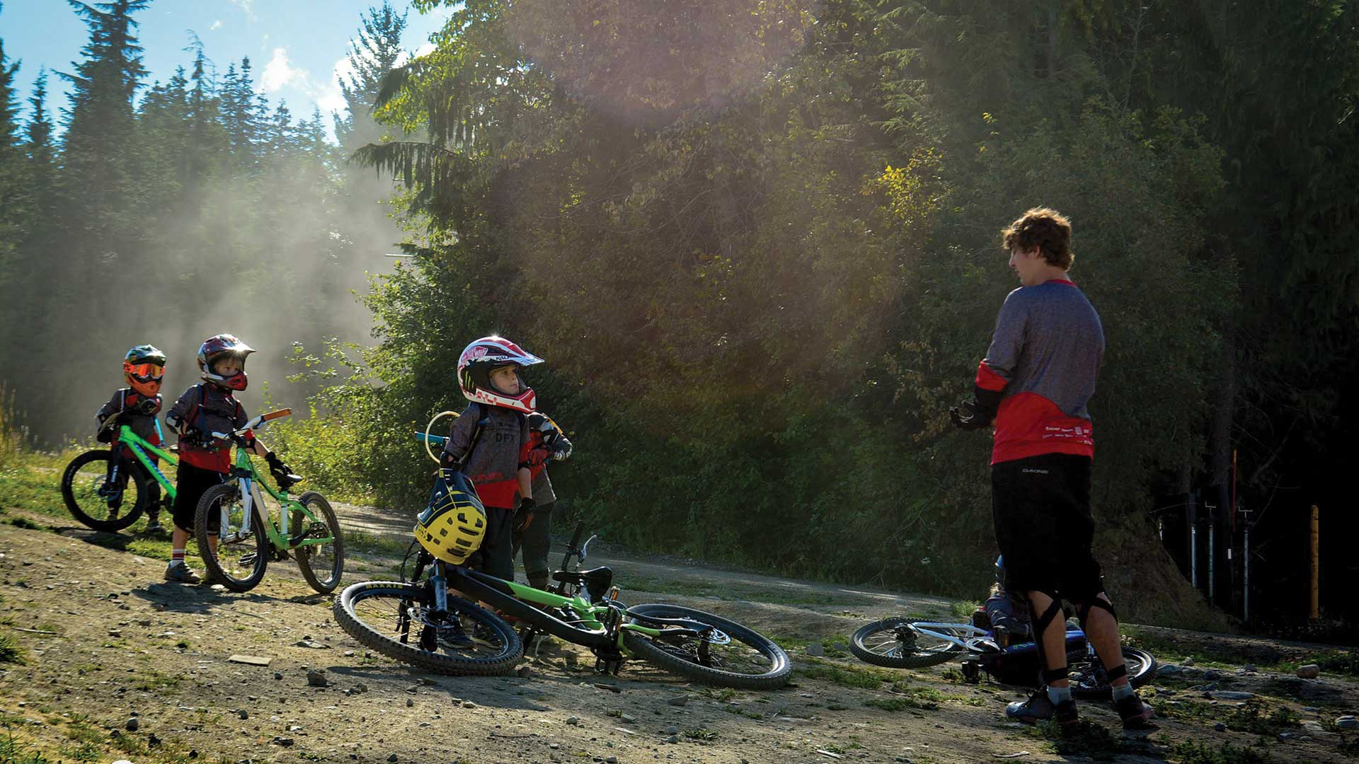 Kids in a DFX bike lesson in Whistler