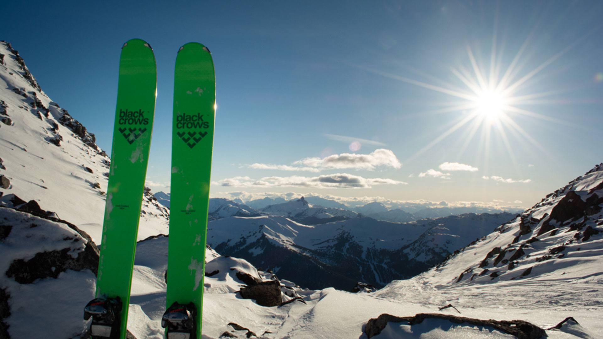 Winter holiday in Whistler, showing the views of Whistler Mountain from Blackcomb.