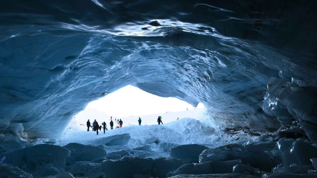 View from inside the Ice Cave on Blackcomb Mountain in Whistler.