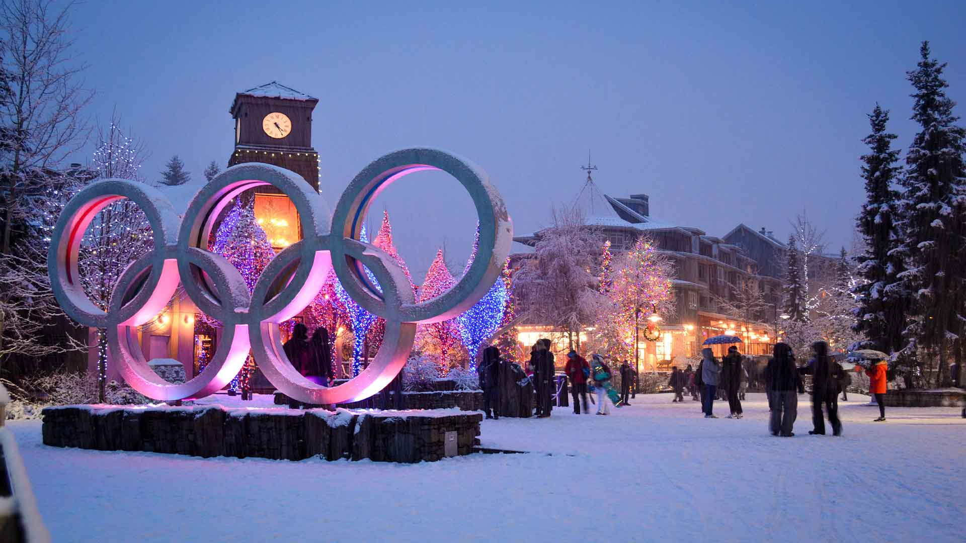 Olympic Rings in the Whistler Village at Night