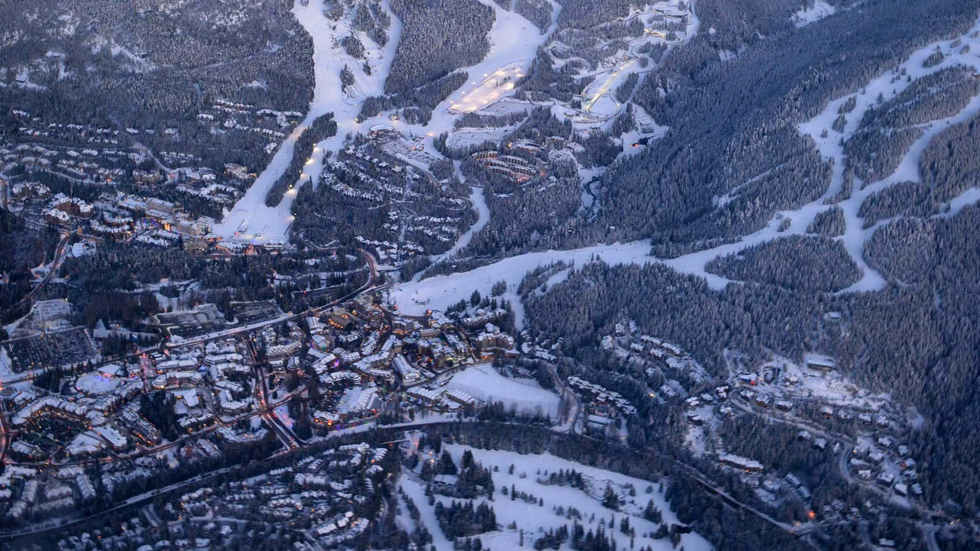Aerial view of Whistler Village from a helicopter