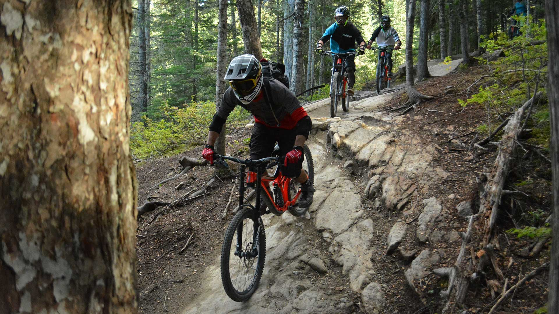 Bike guide taking guests down a rocky trail in the Whistler Mountain Bike Park