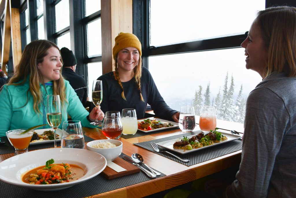 For the ultimate Whistler girls trip, dine on the mountain top at Christines on Blackcomb Mountain in Whistler, BC.