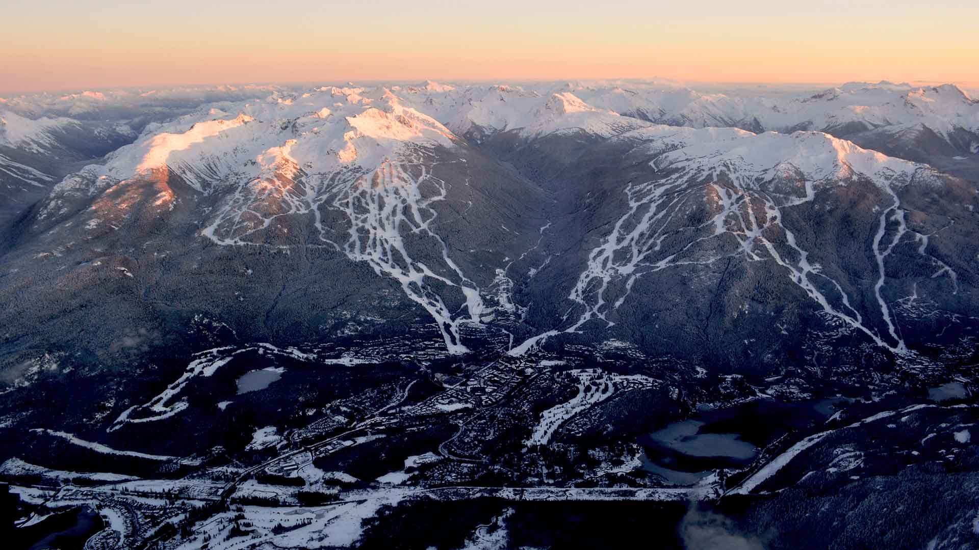Aerial view of Whistler Blackcomb from a helicopter