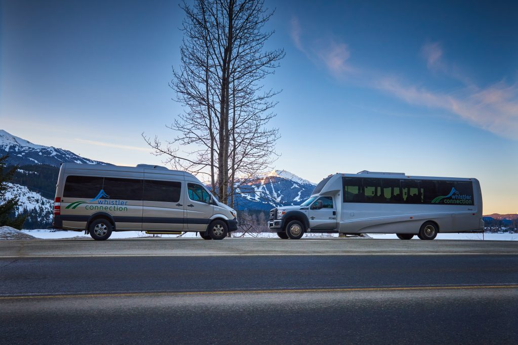 Photo of two vehicles that Whistler Connection uses for airport transfers from Vancouver to Whistler.