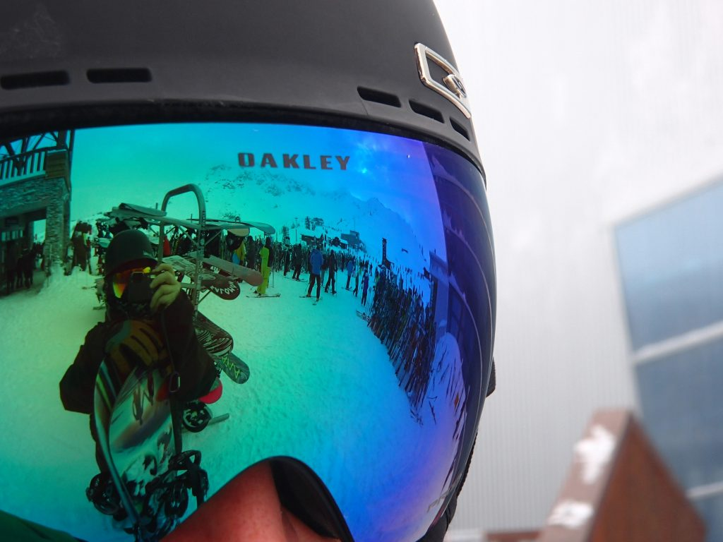 Photo of Oakley goggles and helmet on Whistler mountain
