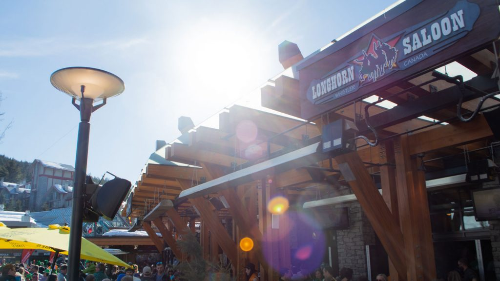 Exterior shot of the Longhorn Saloon in Whistler, BC.