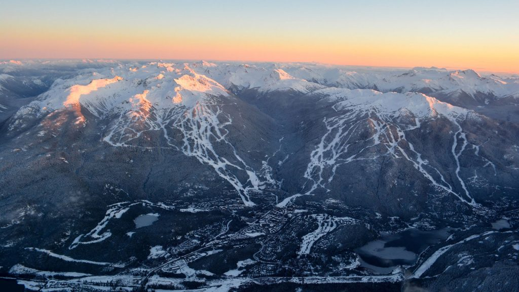 aerial view of Whistler and blackcomb mountains from a helicopter