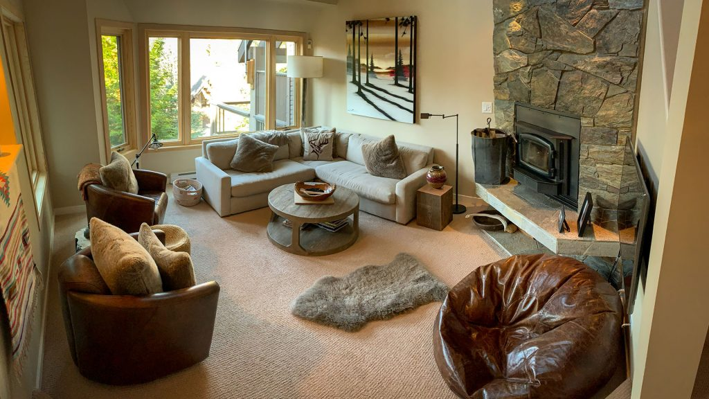 Interior shot of living room of a Holiday Whistler Accommodation